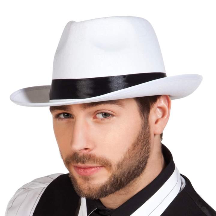 gengszter vagy Gatsby kalap - fehér textil