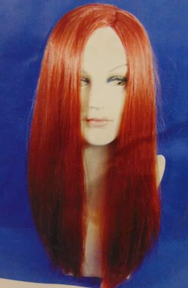 Vörös félhosszú, egyenes paróka