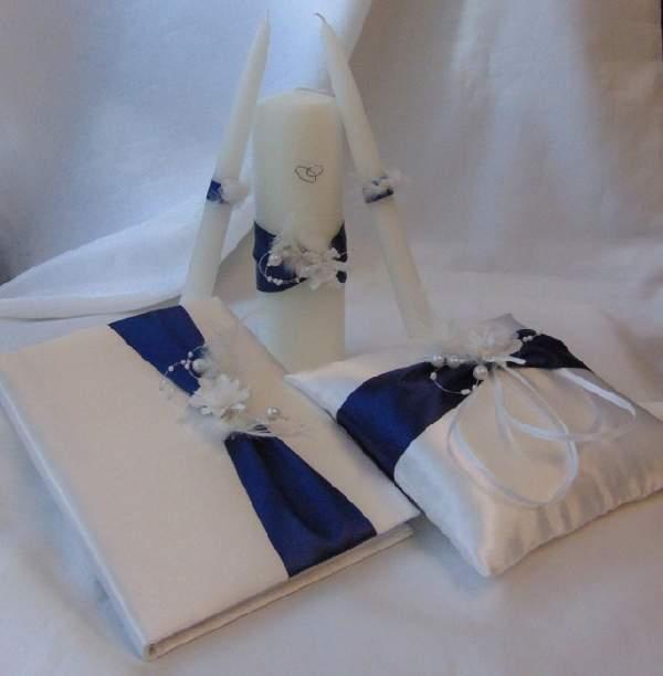 esküvői gyertyaszett tengerészkék díszítéssel (3 részes)