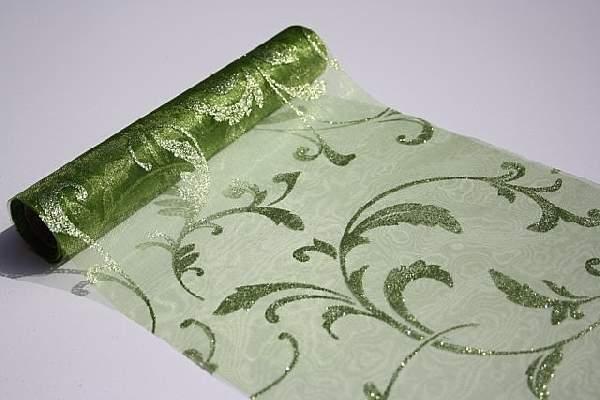 zöld alapon csillámos inda mintás organza(47 cm * 5 m)