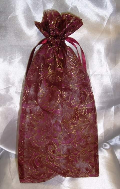 15*30 cm organza tasak bordó, arany mintával