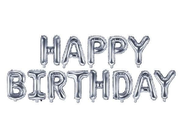 Happy Birthday fólia lufi felirat, 340x35cm, ezüst