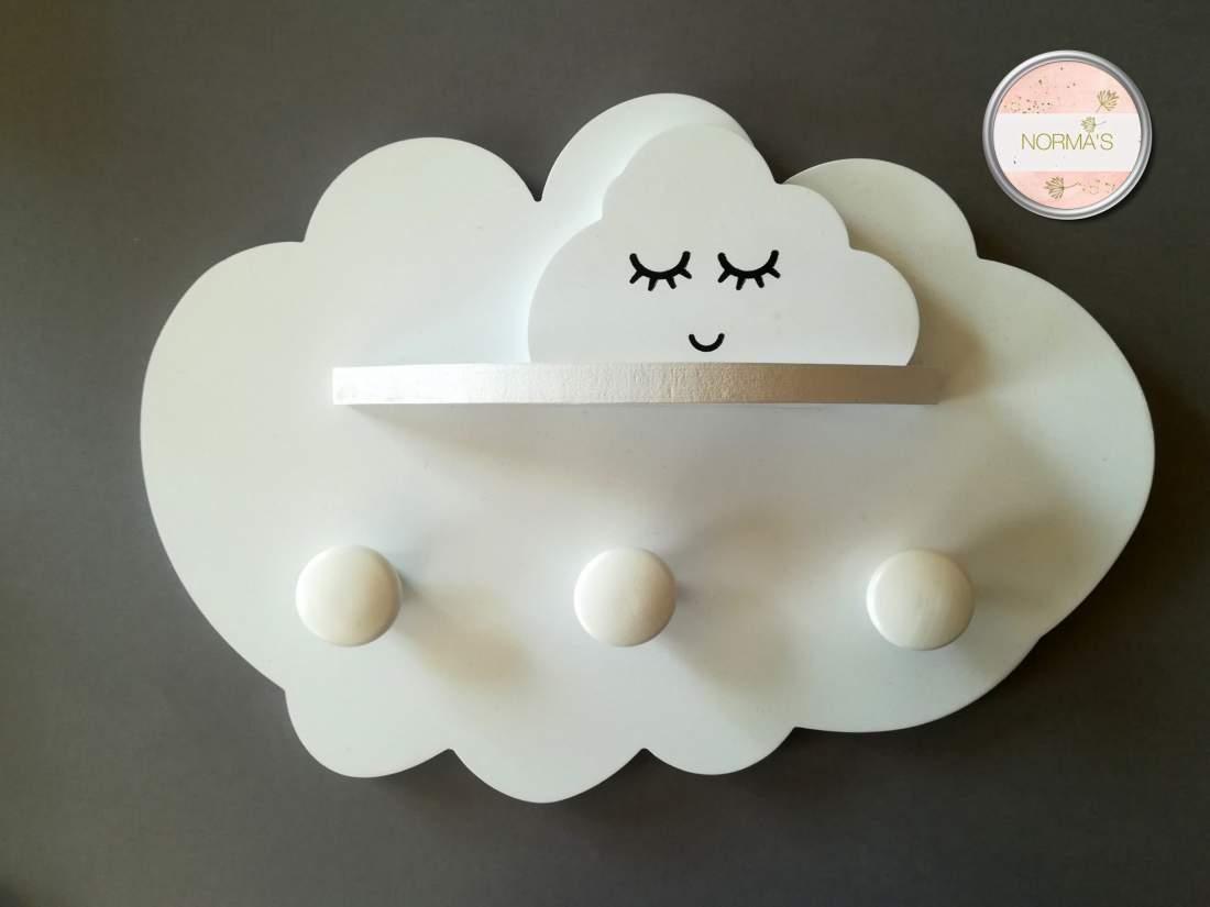 Felhő fogas, polc, fehér, falra,  dekoráció