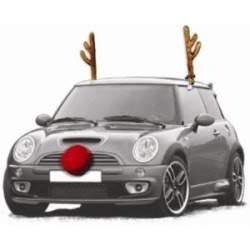 Autós karácsonyi dekoráció, rénszarvas szarvak, orr és farok