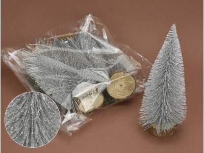 Ezüst csillámos dekor fenyők 20cm 5db/csomag