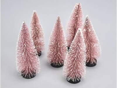 Dekor fenyő pink havas 15cm 6db/csomag